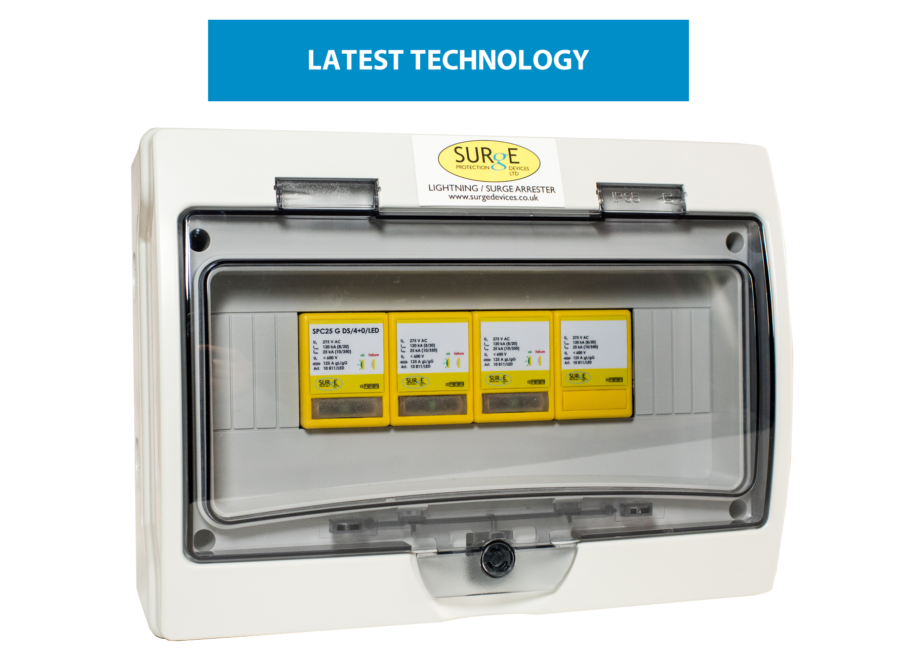 10811/LED/ENC - Type 1+2+3, 100kA (Level 1), 3 phase, all/full mode  protection with LED indication, complete in IP65 polycarbonate enclosure